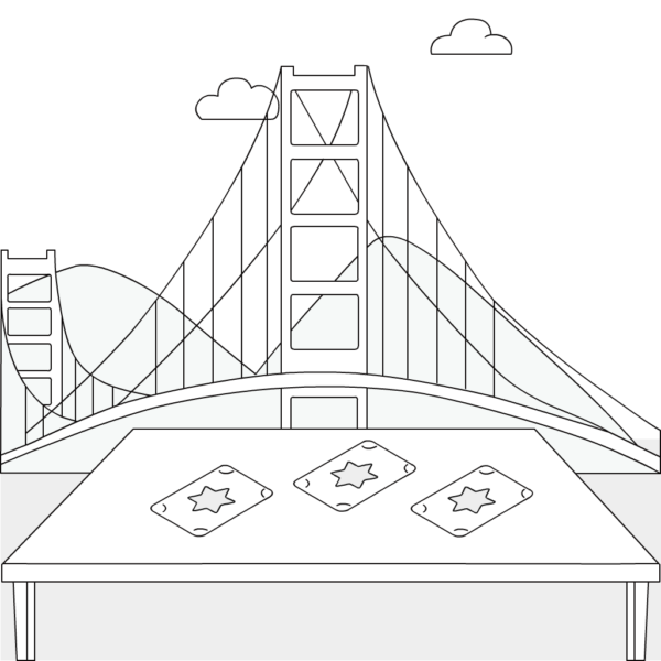 Illustration of Golden Gate Bridge and table with tarot cards on it. Tarot Card Reader for Party.