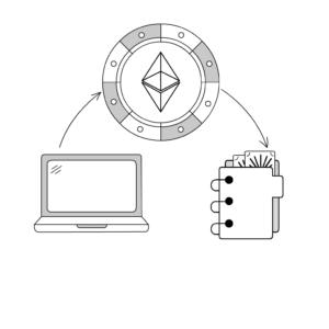 Diagram illustration of a laptop, binder, and a diamond design. inspiredtarotpractice.com - astrological charts post mail.