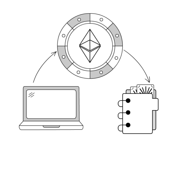 Diagram illustration of a laptop, binder, and a diamond design. inspiredtarotpractice.com - astrological charts post mail.