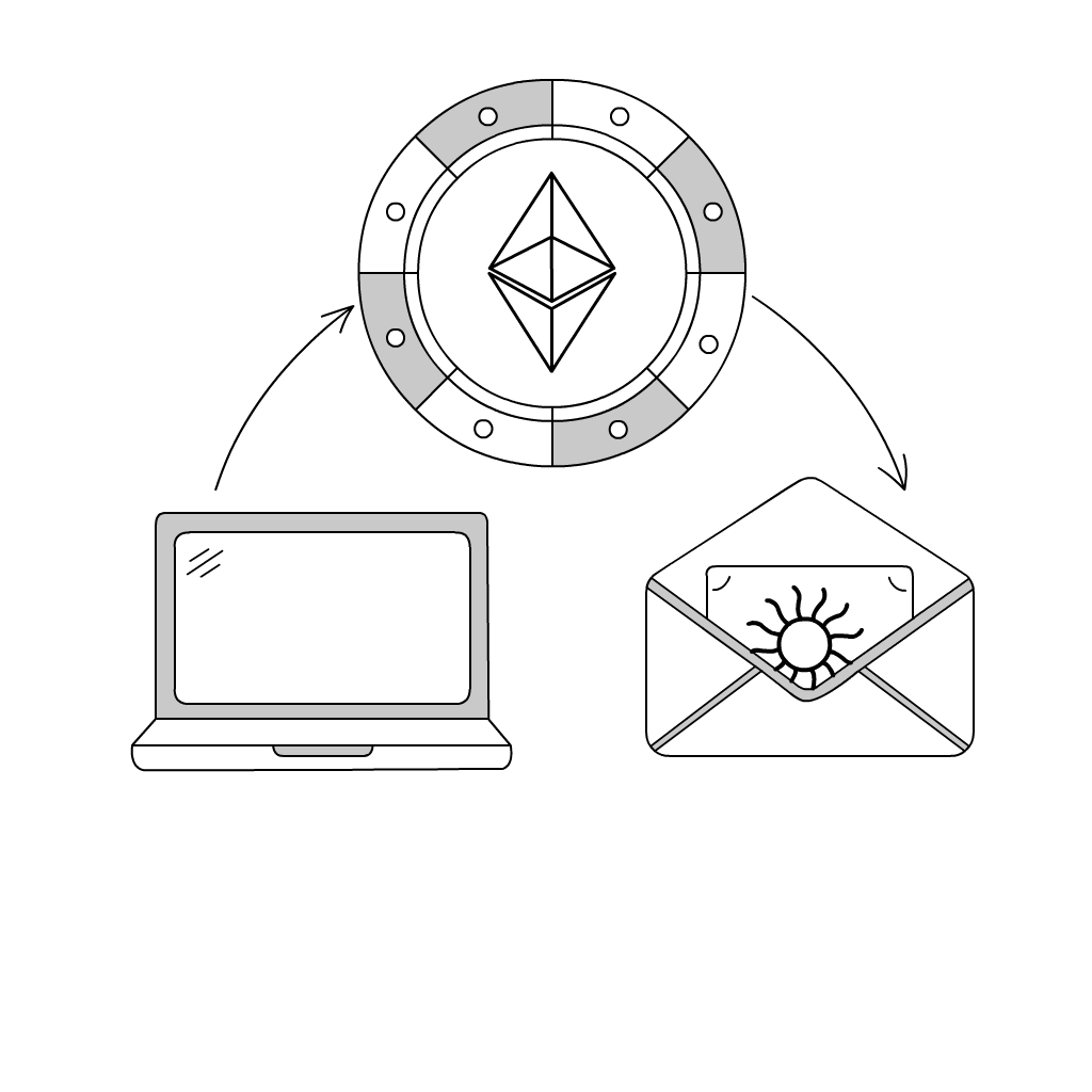 Illustrated diagram of a laptop computer, email envelope, and diamond design for inspiredtarotpractice.com - Astrological Birthday Charts