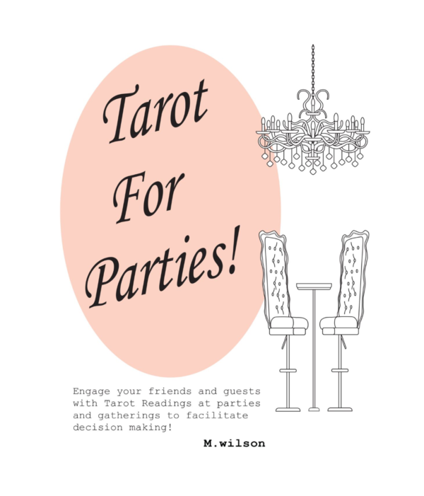 Peach and white illustration of a table, chairs, and chandelier. Tarot For Parties! bookcover - inspirational tarot softcover - How To Read Tarot Cards For Others