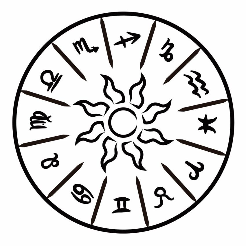 Black and white illustration of a zodiac wheel. inspiredtarotpractice.com - Tarot Spreads Book