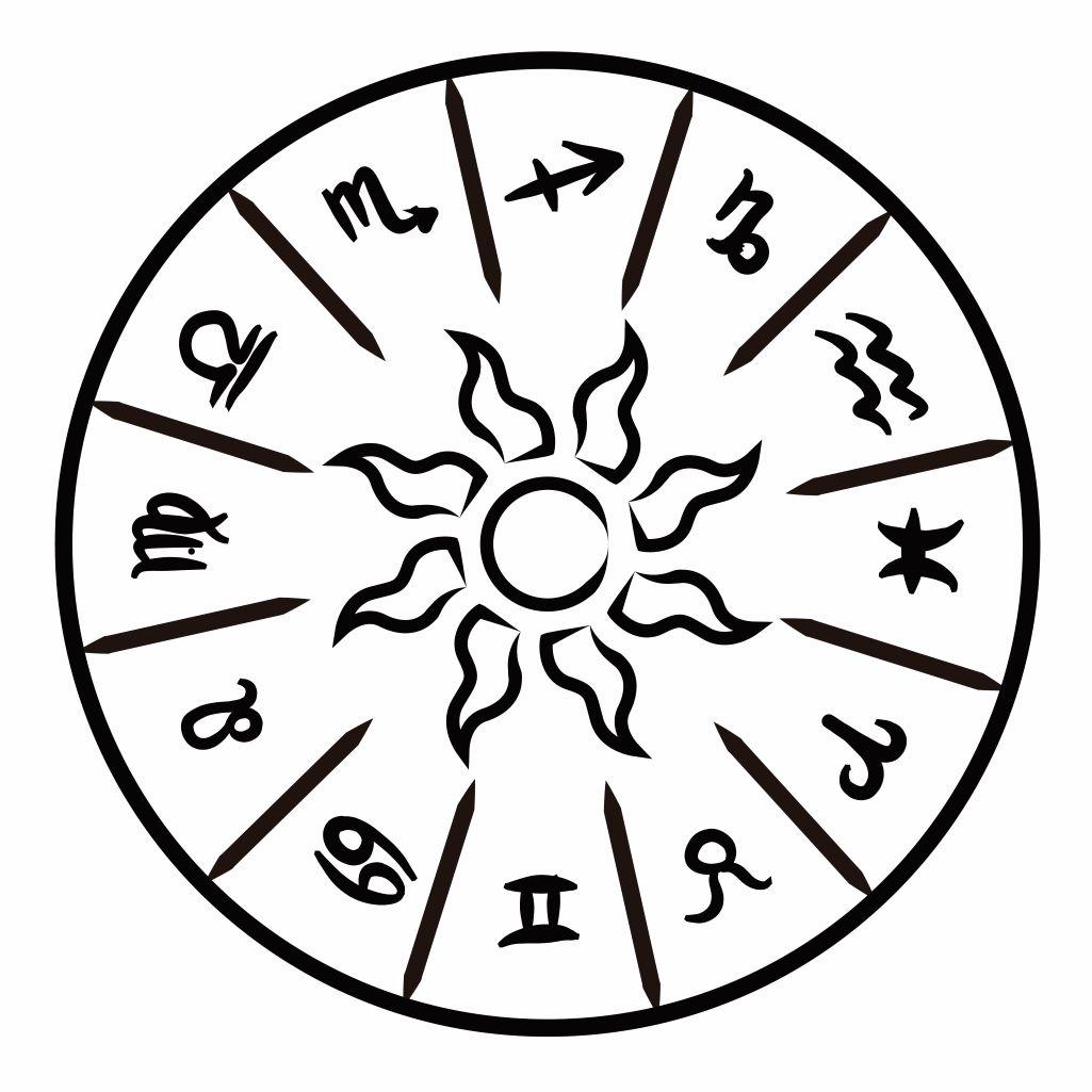 Black and white illustration of a zodiac wheel. inspiredtarotpractice.com - Tarot Spreads Book