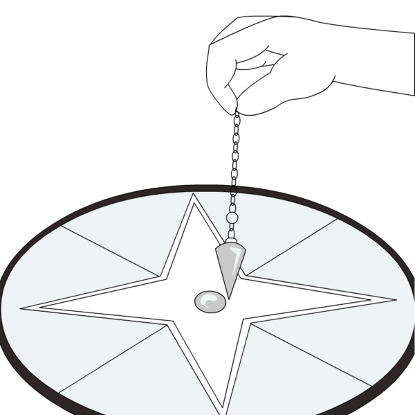 illustration of a Pendulum Reading with dowsing tool and hand.
