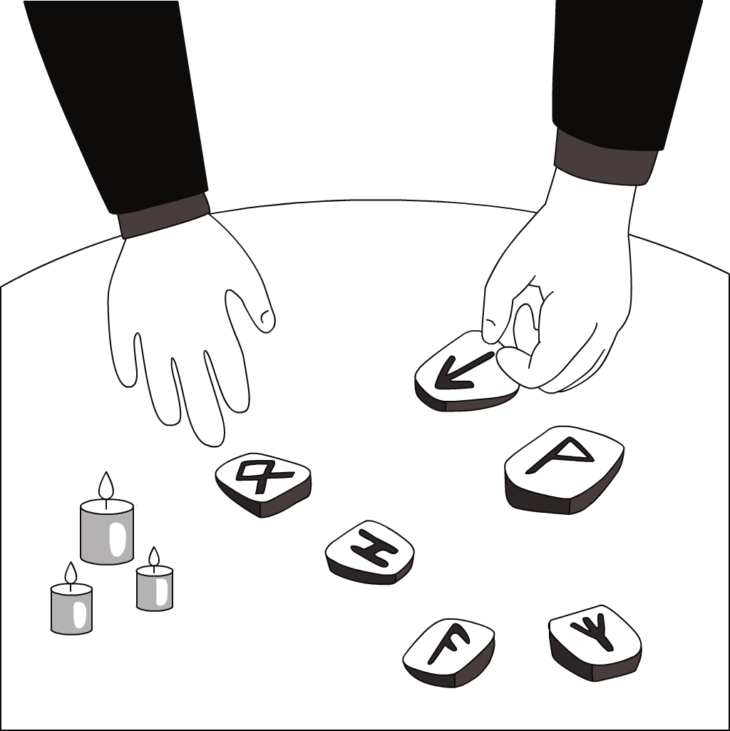 Illustration of arms and hands on a rune reading with candles.