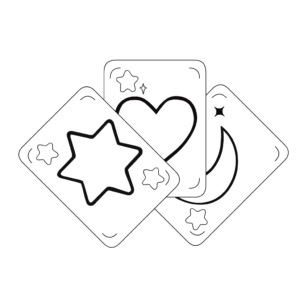 Black and white illustration of 3 tarot cards with star, heart, and moon. inspiredtarotpractice.com -