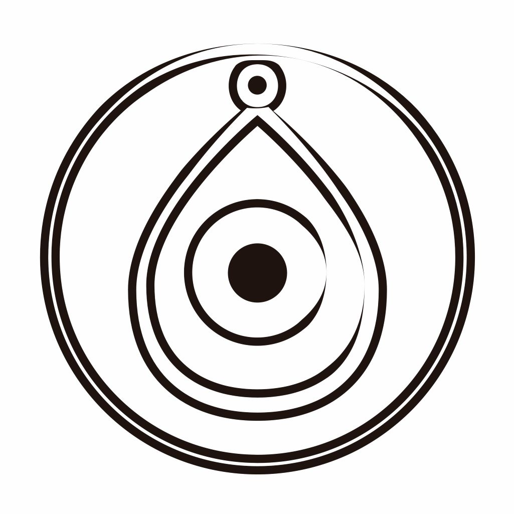 Black and white illustration of a circle and amulet with a centralized eye. Inspiredtarotpractice.com -