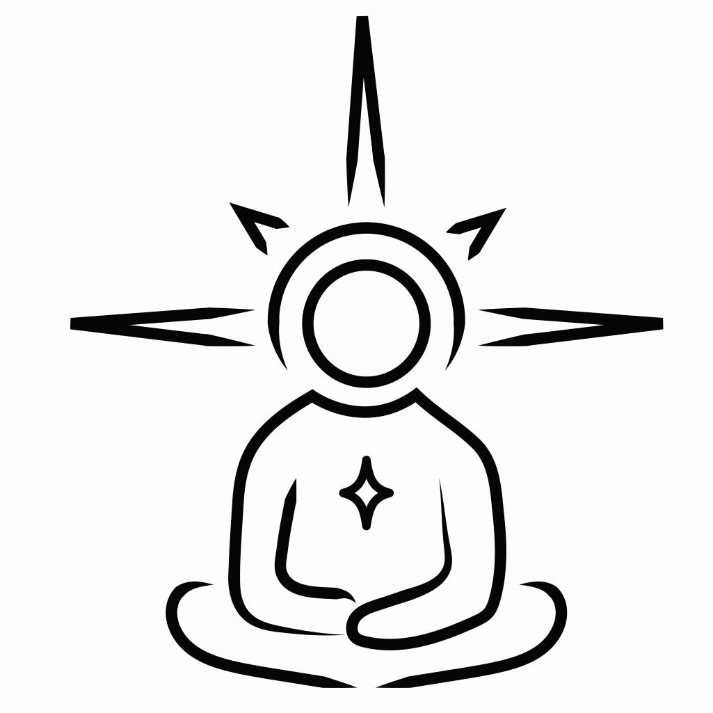 Black and white illustration of an illuminated person meditating. inspiredtarotpractice.com - How To Read Tarot Cards For Beginners