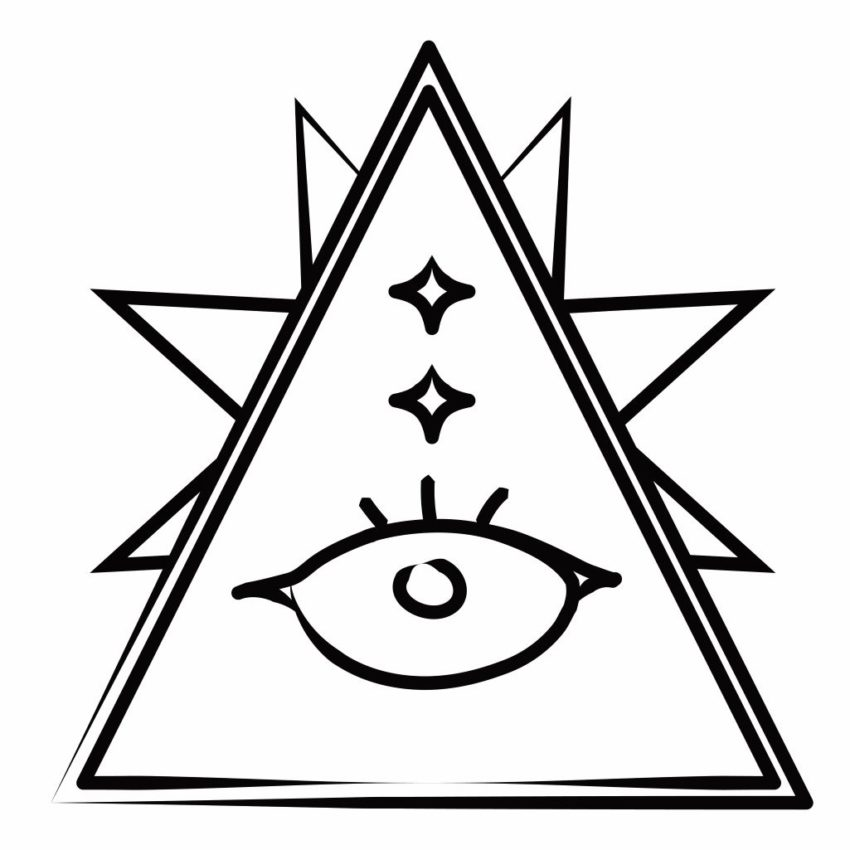 Triangle with eye icon. Tarot card reading philosophy Alan Watts -